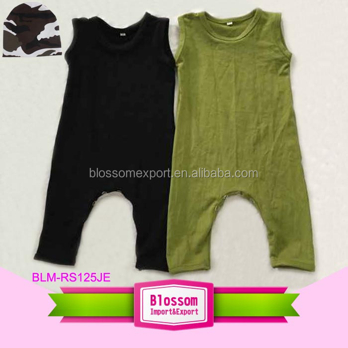 Summer Baby Boy And Girl Plain Rompers Sleeveless Long Legs Baby Grow Rompers
