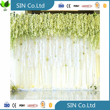 china hebei 36 Feet Artificial Silk Wisteria Vine Ratta Hanging Flower for Wedding decoration 008615732179065
