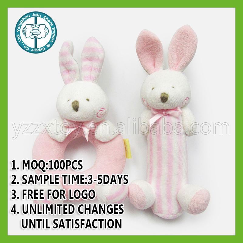 Animal bunny with round hoop For NB New Baby Safe Plush Toy