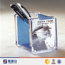 Manufacturer supplier customized acrylic brush pot with photo frame / lucite brush pen holder