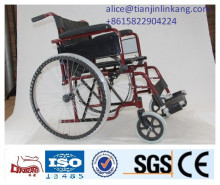 Steel Manual, Filp-Back, Wheelchair, Economy detachable dark red color easy folded
