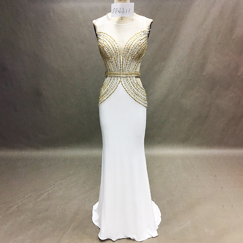 Custom Made Hot Sexy White Beaded Sleeveless One Piece Long Chiffon Formal Dress