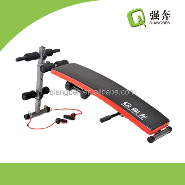 AB sit up bench with dumbbells body fitness ab machine curved exercise equipment