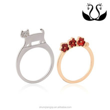Factory wholesale 18K gold and silver plated Loverly style Vogue ladies combined type 2-pcs Alloy finger rings set