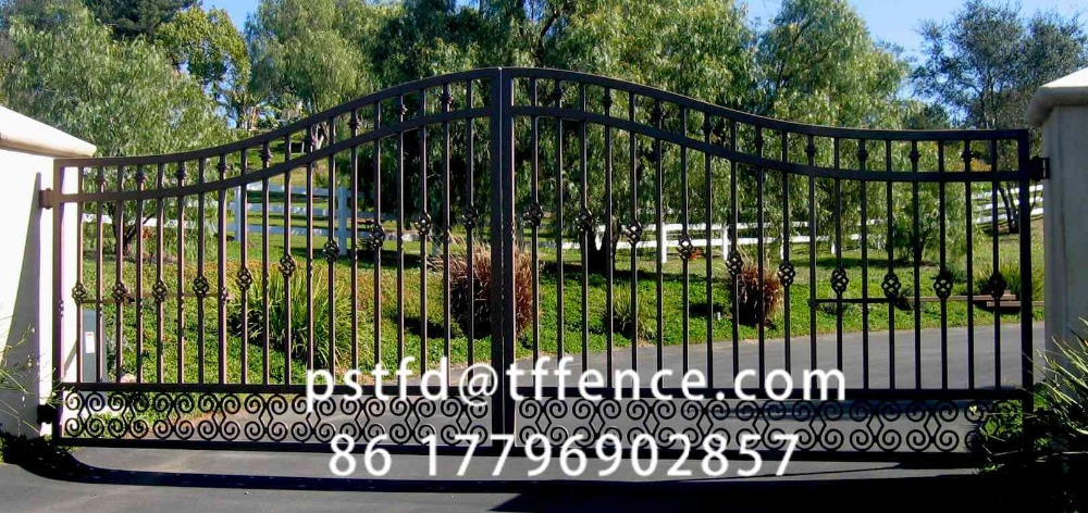 2016 Top-selling modern sliding wrought iron gate design for drive way