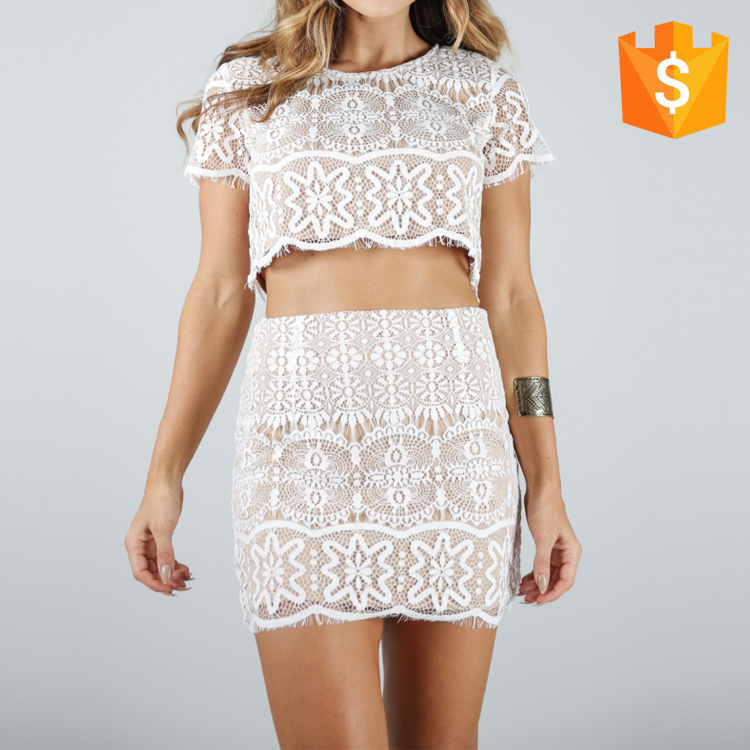 2016 Women Fashion Style Lace Short-Sleeved Bare Midriff Tops Mini-Skirt Suit