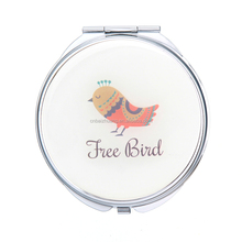 free bird epoxy compact mirror Handbag Purse Pocket Hand Mirror compact brush with mirror