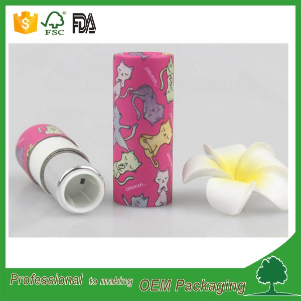 free design free sample lipstick paper tube with plastic inner 21x70mm standard size empty round box for lip gloss