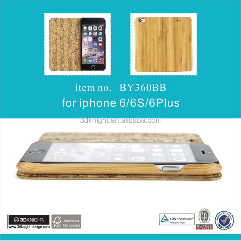 Quality Flip Wooden Case Cover for smart phone for iPhone 6s bamboo cover