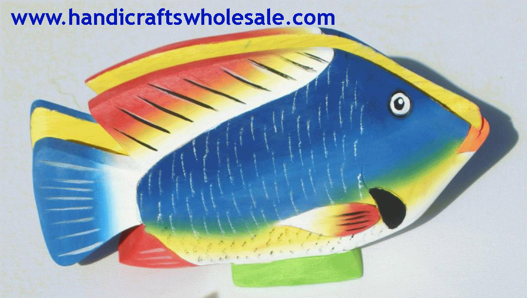 Colored Balsa Wood Fish Napkin Holders Carvings, Handmade Home Decor and Crafts for Sale