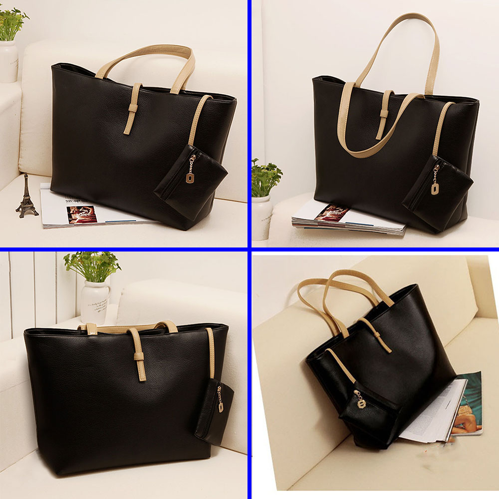 Wholesale Black PU Leather Handbags Shoulder Bags Big Size for Ladies