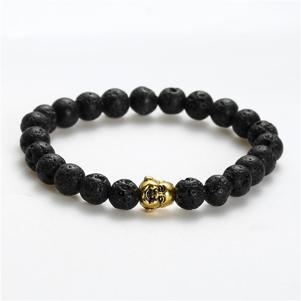 New Fashion Stone Lava Beaded Healing Bracelet Black Gold Tone Antique Gold Buddha Statue Head Elastic