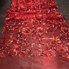 Different color red sequin mesh fabric shiny rose flower embroidery lace fabric