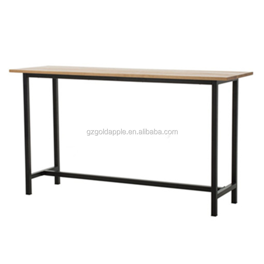 Replica wooden bar table, metal high table