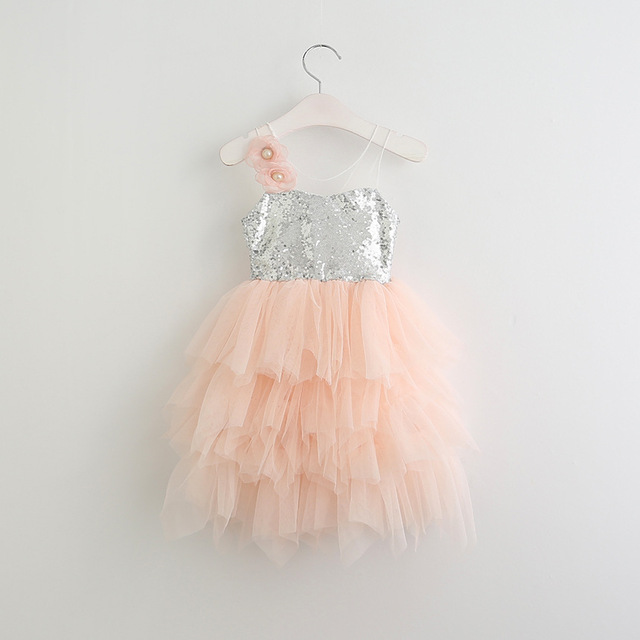 News 2017 Girl Child Tutu Dresses 4 Year Baby Girl Gown Party Wear