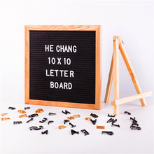 10x10 inch oak wooden frame black felt alphabet letter board with letters