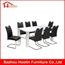 Modern European Style Cream Restaurant Dining Room Furniture White MDF Wooden Table Black Leather Chair 8 Seater Dining Set