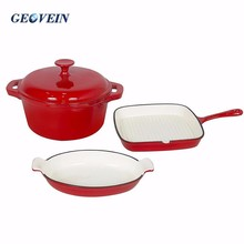 Wholesale Iron Cast enamel cast iron cookware sets Red color
