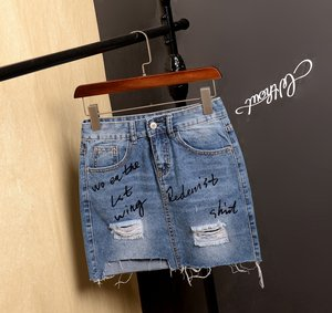 New Classic Women Popular Stylish Rip Up Printed Denim Jeans Skirt For Wholesale