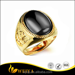 Likesome Vintage and Oval Agate Gold Jewelry, Luxury Adjustable 18k Gold Plated Ring in Red/Black/Green for Men