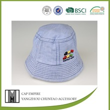 BSCI Audit dusty blue embroidered 100 cotton baby cap and hat in china