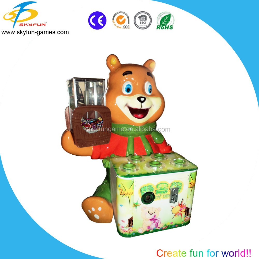 Coin operated games candy bear lottery machine kids hammer games for 2 players