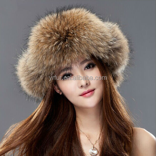 YR-434A Ladies' warm real raccoon fur funny winter hat/ ear flap hat