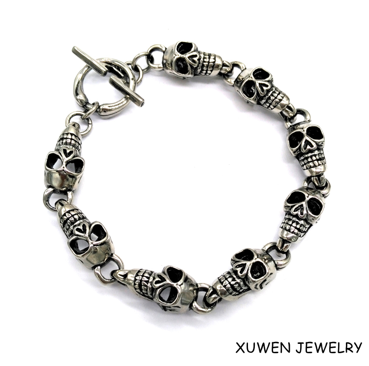 factory made skull charms stainless steel braclet men
