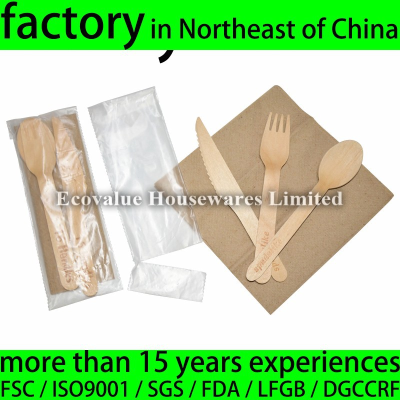 Eco Friendly Birch Wood Disposable Camping Cutlery Set