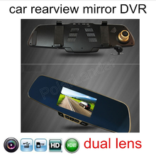5 inch 1080P HD rearview mirror car recorder DVR reversing image new arrival dual lens include rear camera