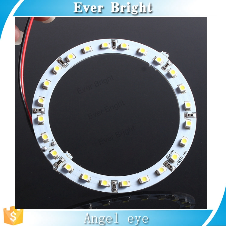 Wholesalefactory price universal 80mm 24smd/pc led 1210 auto halo lighting ring full circle led ring angel eyes