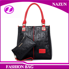 Fashion designer personality contrasted color lady stylish leather women handbag