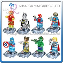 Mini Qute DARGO 8pcs/set plastic Marvel crystal Avenger spiderman boy building blocks action figures educational toy NO.842A-H