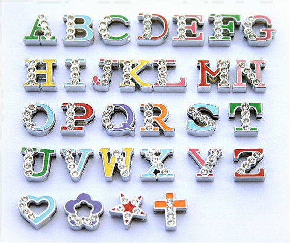New product 2016 alloy enamel 8mm A to Z slide rhinestone letters for bracelet