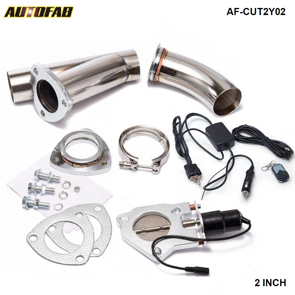 "AUTOFAB - 2"" Elextric Exhaust Dump Cutout Y-Pipe/E-Cut out <strong>W</strong>/Switch Bypass Valve system Kit + Remote AF-CUT2Y02"