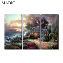 Landscape Oil Painting on Canvas Modern Home Decorative Pictures House on Seaside 3 Piece Framed Wall Pictures for Home
