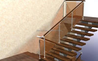 glass wood stainless steel stairs