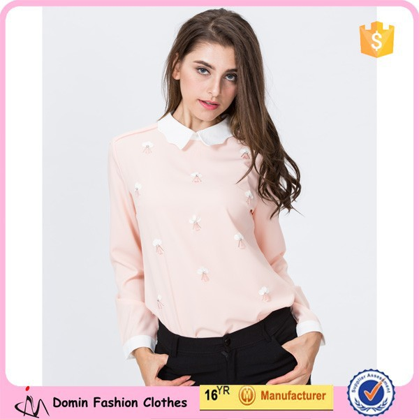 2015 Hot Fashion Lapel Collar Embellished Long Sleeve Ladies blouse