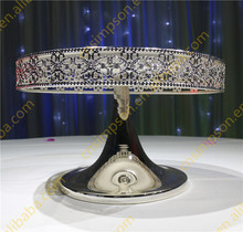 Most popular round shaped mirror glass & metal meterial wedding cake stand for wedding & party decoration for sale