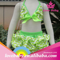 2015Wholesale fashion high quality green chevron sexy kids bikini