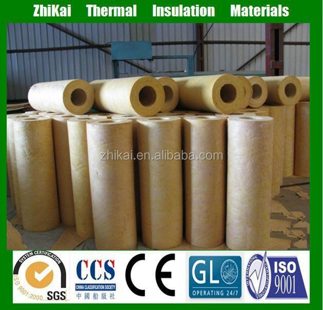 High density pipe insulation materials 100kg m3 fireproof for Rockwool pipe insulation prices