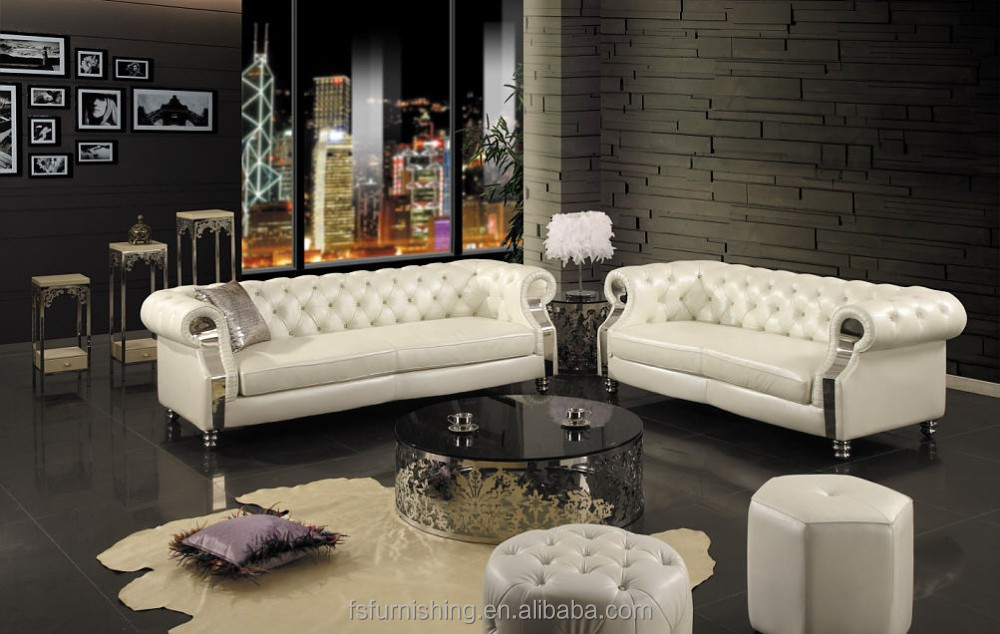 Jr301 Contemporary White Genuine Thick Leather Crystal Button Stainless Steel Chesterfield