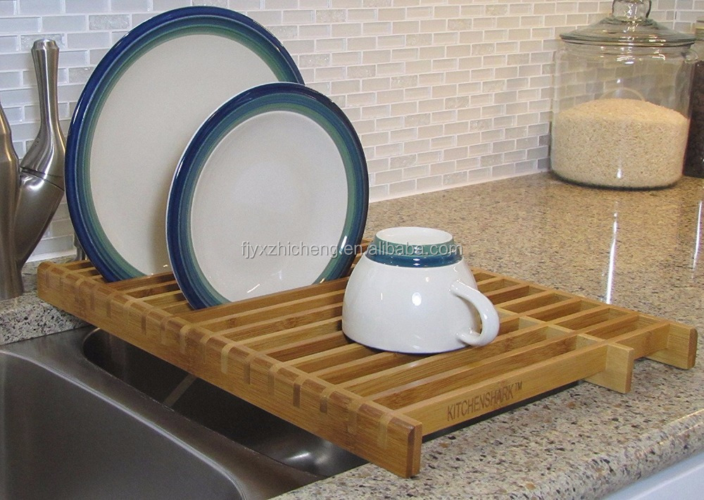 Bamboo Expandable Bamboo Plate Rack Kitchen Dish Drainer Rack