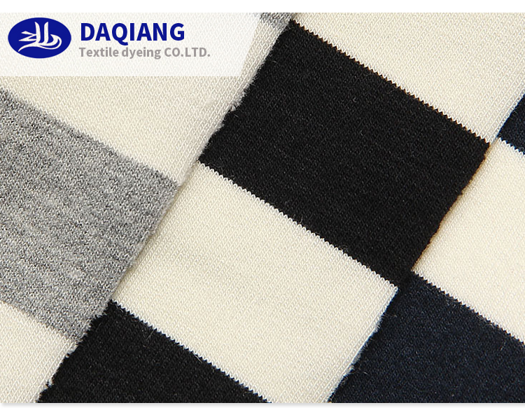 4S108 rayon cotton knitted fabric lycra spandex fabric striped elastic for ladies dress pajama sportswear shirt cloth
