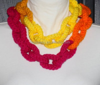 Handmade knitted Crochet Chain Link Scarf Statement Necklace for girls