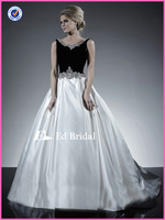 NC77 New Fashion Crystal Beaded Velvet Top Black And White Wedding Dresses