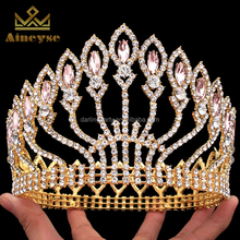 colorful rhinestone full round pageant tiara crowns for bridal pageant prom tiara crown decoration