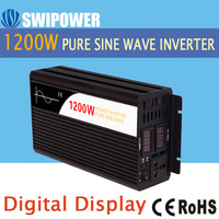 1200W pure sine wave solar power inverter DC 12V to AC 220V digital display with Charger