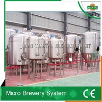 Complete beer making machine with grain milling, steam brewhouse, double fermenters, CIP
