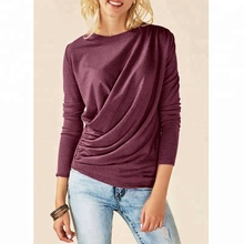 Wholesale Personalized Long Sleeve Solid Ladies Draped <strong>Blouse</strong>